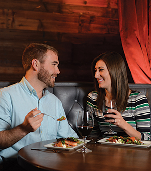 Have a cozy lunch for two—or one three-course dinner—for just $28 during Restaurant Week. Spring a little extra for a nice wine, as this couple did at Eatery A, and you have a meal to remember.
